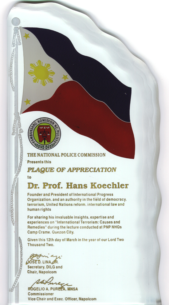Plaque of appreciation presented by NAPOLCOM to Prof. Koechler