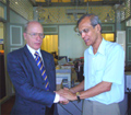 Mr. T. Rajamoorthy, Secretary-General of the Third World Network (TWN), shaking hands with Prof. Hans Koechler at the briefing session at TWN headquarters in Penang, Malaysia, 22 January 2007